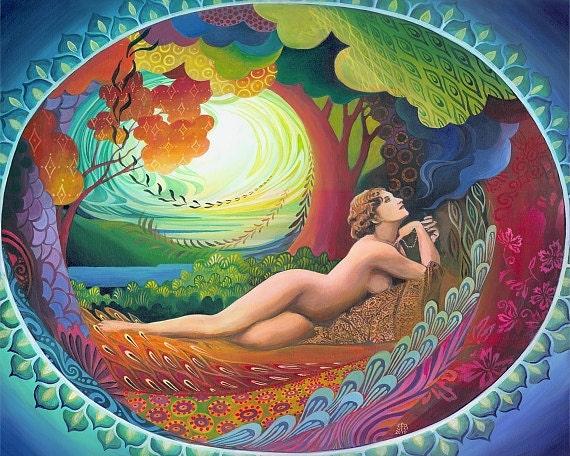 Nepenthe Goddess of Bliss Psychedelic Goddess Art 8x10 Print
