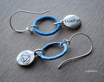 SACRED GEOMETRY sterling silver indigo patinated circle handmade earwire earrings by srgoddess