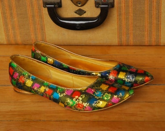 Vintage 1960's flats checkered with  gold green yellow orange glamor