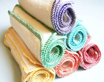 "6 Organic Baby Wipes - Cloth Diaper Wipes -  Eco-friendly Washcloths. Hemp Organic Cotton Fleece Wipes 7"" square. Rainbow"
