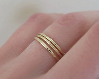 14k Yellow Gold Stacking Ring Set of Three - 1.3 mm - Round Hand Hammered Stacking Rings - Recycled Gold