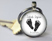 Custom Baby Feet with Name and Date Key Chain - Mom, Dad, Grandma, Grandpa - Mother's Day - Personalized