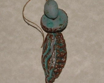 Turquoise and Brown stoneware textured bead set Tribal dancer odd32