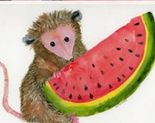 Possum with Watermelon Card - Print from my original watercolor, all occasion card, greeting card, opossum art card, possum greeting card