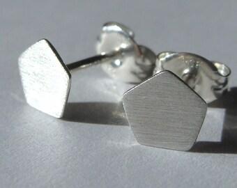 Tiny Pentagon Post Earrings Sterling Silver Stud Earrings Pentagon Studs