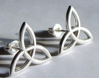 Celtic Trinity Sterling Silver Stud Earrings Post Earrings Trinity Studs Celtic Studs