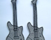Guitar iron on Sew on Patch Applique in Gray Felt - embroider patch - band patch - sew on patch - guitar strings - embroidery
