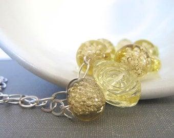 Silver Necklace, Yellow Straw Glass, Glass Necklace, Silver Chain, Sterling Silver, Bubble Glass, Silver Jewelry, Lampwork Glass