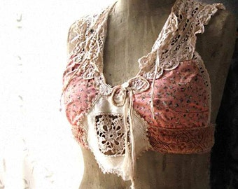 Antique Lace Collar Crop Top, Peach, Pink, Ditsy Floral, Velvet, Ecru, Chiffon Bow, Rustic, Boho