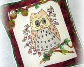 Autumn Owl Pillow Hand Embroidered Halloween Home Decor
