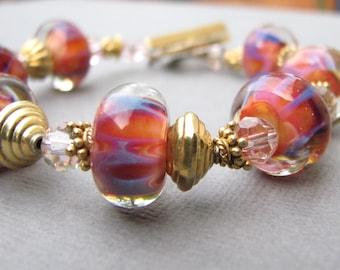 Gold Vermeil and Pink Lampwork Bracelet