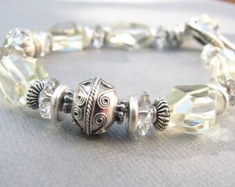 Lemon Quartz Bracelet -Bali Sterling Silver Bracelet