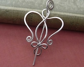 Celtic Angel Heart Little Sterling Silver Shawl Pin, Scarf Pin, Sweater Brooch, Gift for Her, Knitter Celtic Accessory,  Women, Jewelry