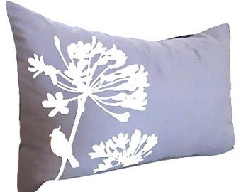 Limited Time Sale Slate Cardinal on Agapanthus Rectangle Pillow