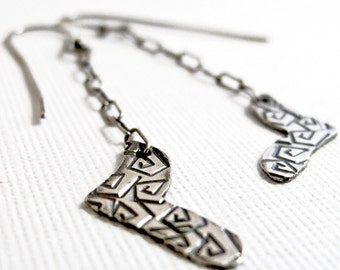 Crazy Heart Dangles - Sterling Silver Stamped Long Earrings