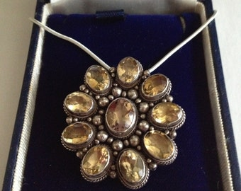 Sterling Silver Yellow Citrine Pendant and Brooch Free Shipping