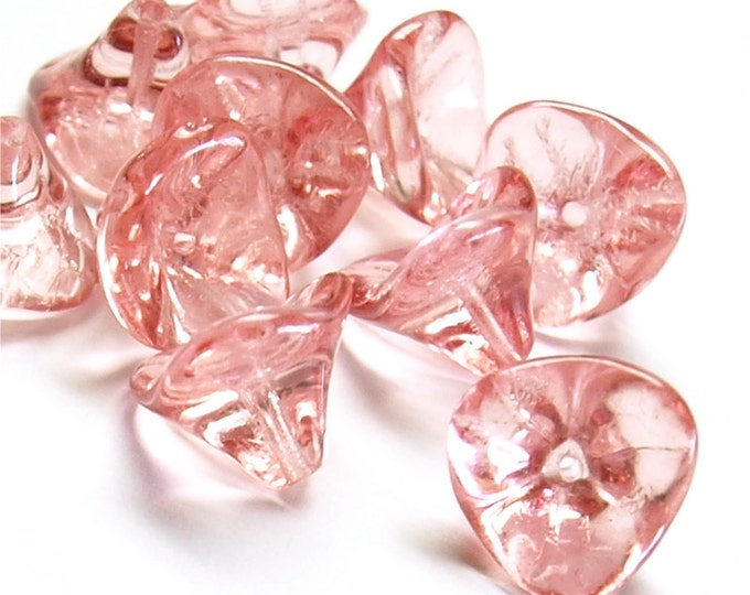 CZBF-12MR - Czech Bell Flower, 10x12mm, Misty Rose - 10 Pieces