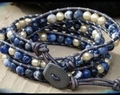 Leather Sodalite and Pearl Wrapped Bracelet with Stone Button Pacific Blue Leather