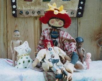 Primitive Raggedy Ann Doll Cat Miniature Quilt Pattern  EPattern PDF Folkart Folk Art  by  Hickety Pickety 034