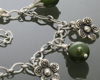 Jade and Flowers Sterling Silver Charm Bracelet s13b004