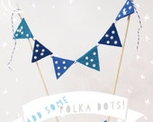 Blue Polka Dot Birthday Cake Bunting