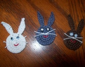 Easter or Spring Bunny Heads, Hand Crochet - Choose 2 - Mix and Match Colors