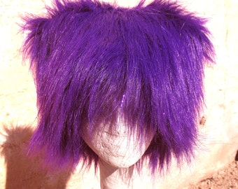 Mardi Gras Purple KOZY KITTY faux fur hat  - super long Sparkle Purple Tinsel  mens Mardi Gras Hat women - Raver EDM party fuzzy hat etsybrc