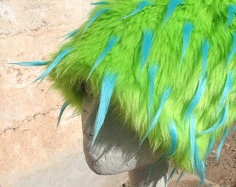 Neon Sea Anemone KOZY KITTY HAT - Lime & Turquoise Faux Fur Hat  - Women Men Burning Man photo booth hat spiky green fuzzy hat Mardi Gras