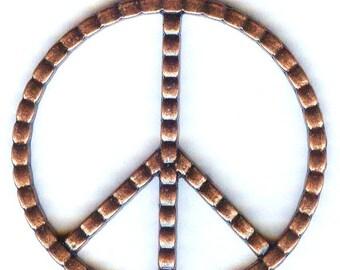 Antique Copper Large Peace Sign Pendant 48mm