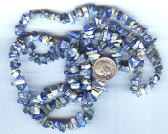 Lapis Lazuli Genuine Natural Chip Beads Full 36""