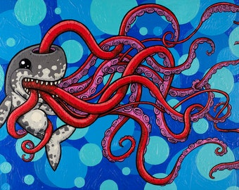 sperm whale vs squid The Enigma of a Full Belly Original Painting