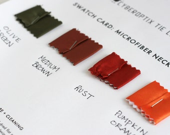 6 fabric only microfiber necktie swatch samples. Color matching card for custom order ties. Choose from 56 tie fabric colors.