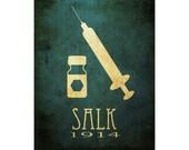 Jonas Salk 11x14 Microbiology Art Print, Biology Science Poster, STEM Art, Scientific Diagram, Vaccinatation Syringe Polio Vaccine Medicine