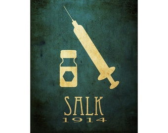 12x18 Jonas Salk Poster, Microbiology Art Print, Biology Science Poster, STEM Art, Scientific Diagram, Vaccination Syringe Polio Vaccine