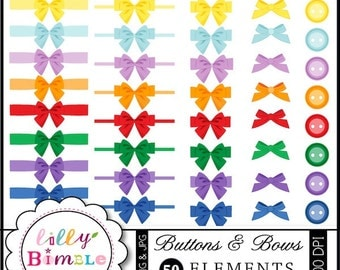 40% off Buttons and Bows digital clipart for card making, crafts download button clip art