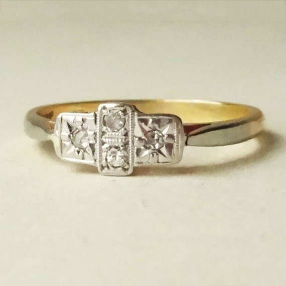 Art deco geometric diamond ring platinum and 18k by luxedeluxe for Geometric wedding ring