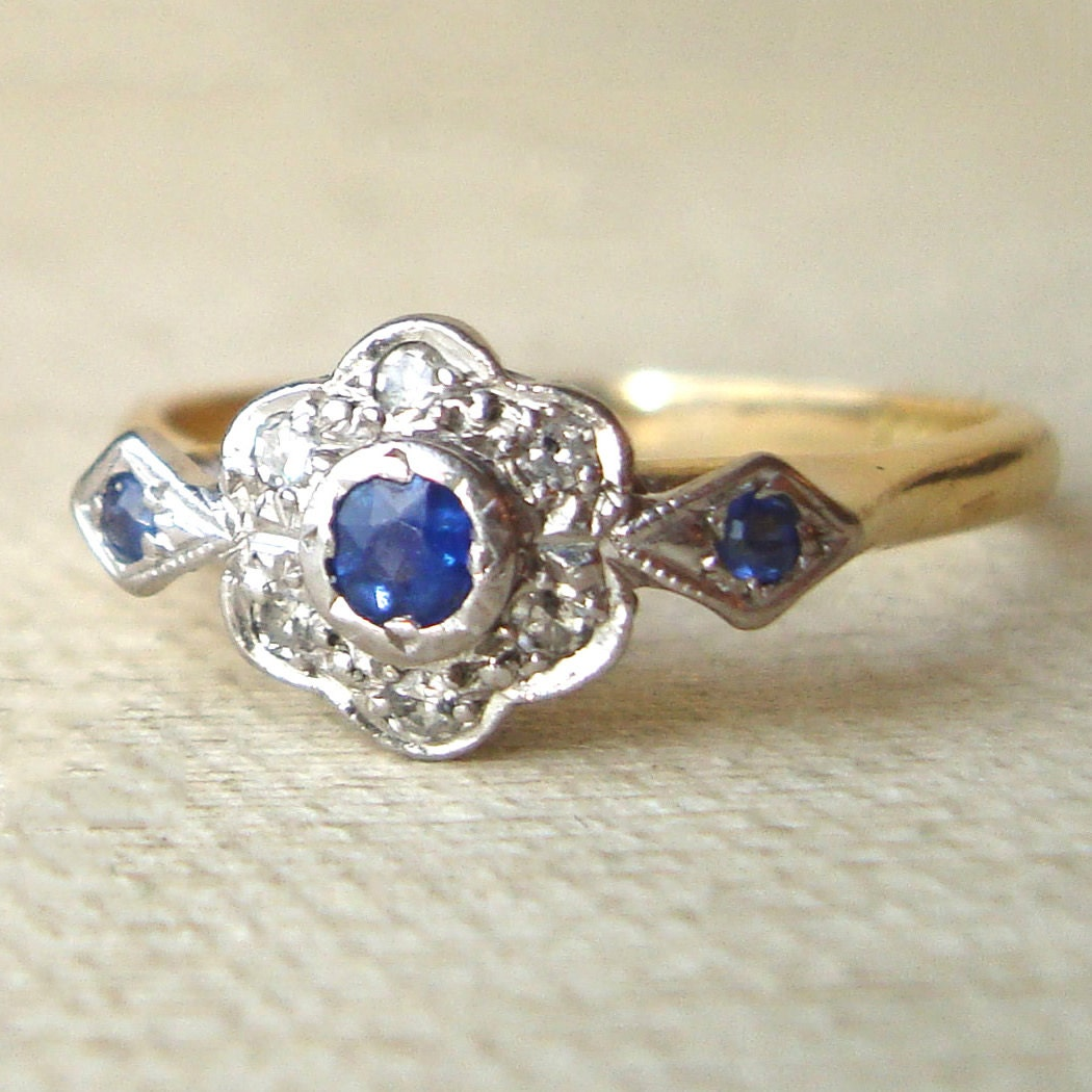 Art Deco Sapphire & Diamond Engagement Ring Vintage by luxedeluxe