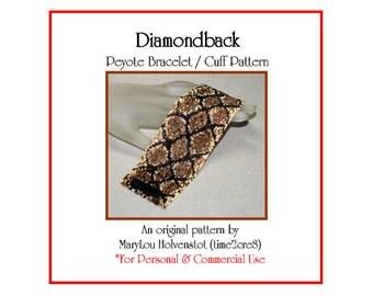 Peyote Bracelet Pattern ... DIAMONDBACK ... Snakeskin . Diamonds . Snake . Rattlesnake . Wide . Cuff . Jewelry . Tutorial  . 3 for 2