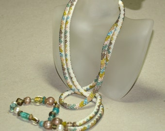 Muriel ... Bead Crochet Necklace . Diamond Pattern . Aqua . Bronze . Ivory . Chartreuse . Fashion Accessory . Stylish . Wrap . Bracelet