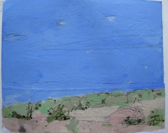 May Spot, Original Landscape Collage Painting on Paper, Stooshinoff