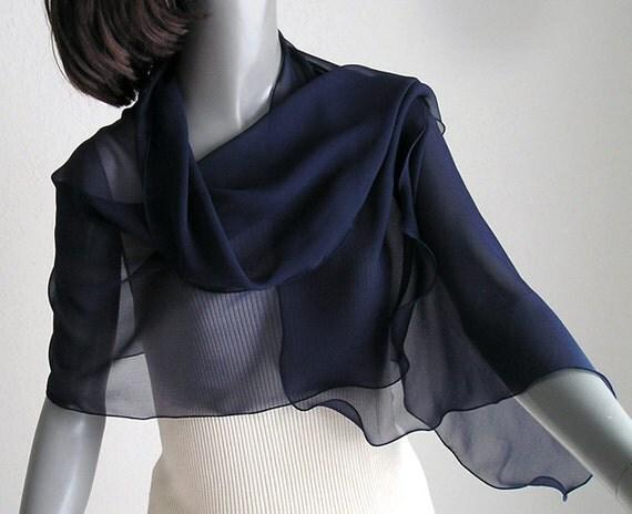 """Dark Navy Blue Scarf Wrap Shoulder Shawl Natural 100% Silk Chiffon, 17"""" x 54""""."""