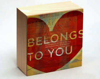 """Valentines Decor- Valentines Day Gift for Him- Anniversary Gift for Wife- Belongs To You Art Box- 4""""x4""""- Girlfriend Gift"""