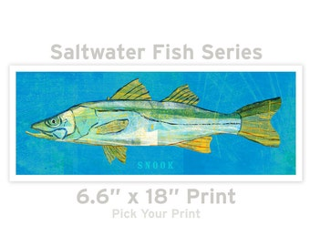 Fish Artwork- The Big One Fish Art Print- Pick Your Print 6.6 in x 18 in Saltwater Fish Art- Beach Home Decor- Ocean Life Art- Dad Gift Him