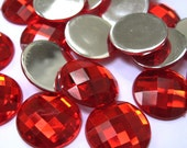 100pcs 20mm Acrylic Rhinestone Cabochon Beads, Faceted, Circle, Red