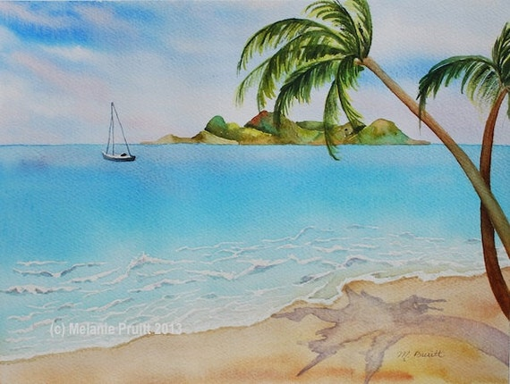 Sale Island Beach Original Sailboat Watercolor Painting By