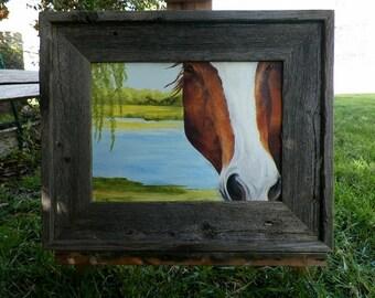 Looking in the Barn Window Horse Original Oil Painting Lake Landscape Art Equine Art by Debra Alouise