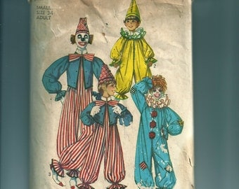 Vintage Simplicity Clown Costume Pattern 7162