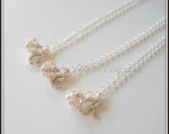 SET OF THREE Fireball and Initial Sterling Silver Necklace Flower Girl Bridesmaid