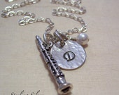 Personalized Clarinet Charm Necklace, Hand Stamped Initial Jewelry, Sterling Silver Clarinet Charm Necklace, Clarinet Player Gift