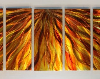 Abstract Celestial Fire Modern Metal Wall Art Decor / By Artist Jon Allen